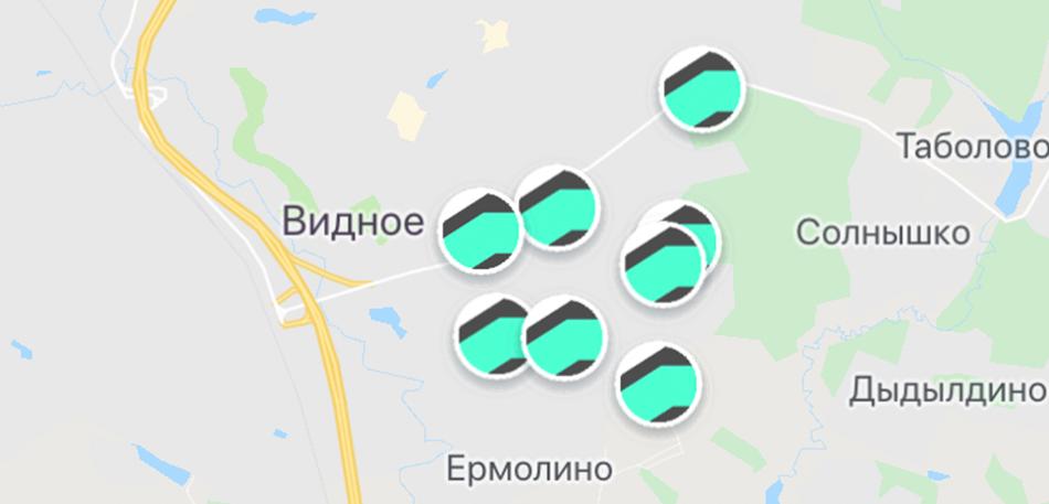 Карта авто Делимобиль в Видном