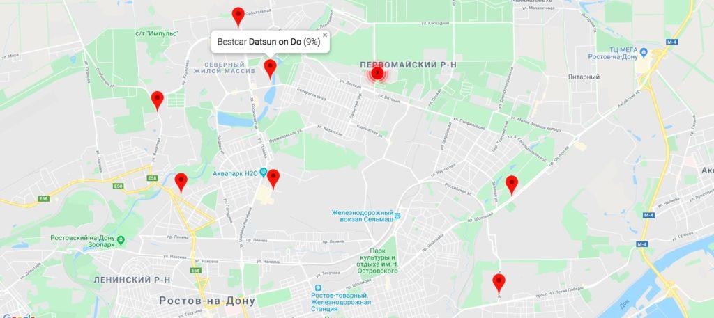 Карта свободных автомобилей каршеринга BestCar в Ростове-на-Дону