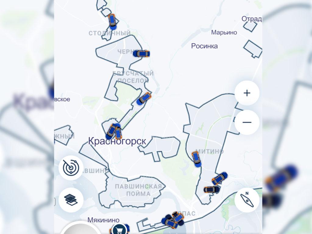 Зона завершения аренды BelkaCar в Красногорске